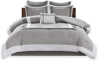 Comfort Spaces Malcom 7 Piece Comforter Set Ultra Soft Microfiber Hypoallergenic Bedding, King, Grey