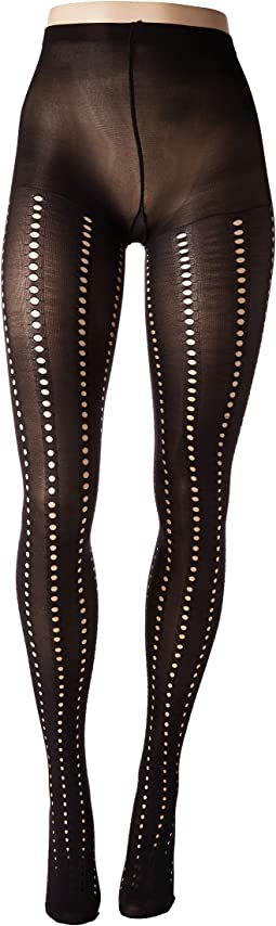 Eyelet Stripe Tights with Control Top