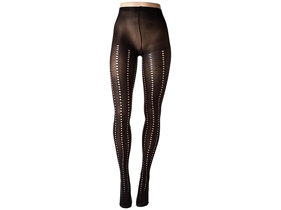 HUE Eyelet Stripe Tights with Control Top (Black) Control Top Hose
