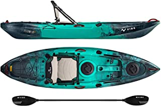 Vibe Kayaks Yellowfin 100 10 Foot Angler Recreational Sit On Top Light Weight Fishing Kayak (Caribbean Blue) with Paddle and Adjustable Hero Comfort Seat - Journey Paddle