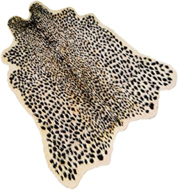 "Leopard Print Rug 3.3"" Wx3.1 L Feet Faux Cowhide Skin Rug Animal Printed Area Rug Carpet for Home Office, Livingroom, Bedroom"