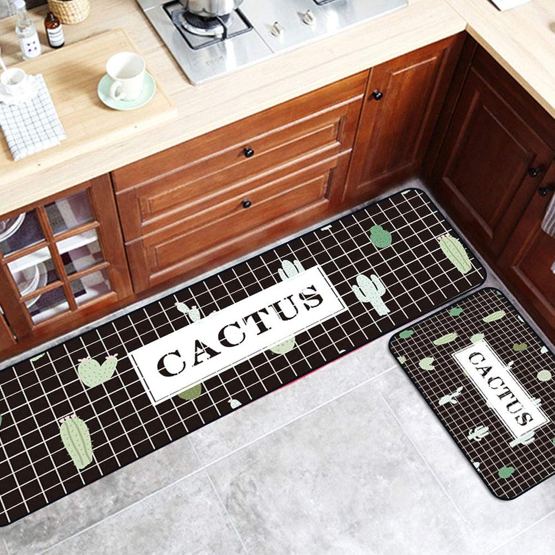 Washable Modern Geometric Grid Cactus Kitchen Non-Slip Floor Mats Crystal Velvet Anti Skid Area Rugs Carpets for Bathroom Bedroom Hallway Home Decor,1pc40×60cm+1pc40×120cm
