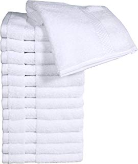 """HomeLabels Cotton Zero Twist Washcloth Towel Set (12 Pack, White, 12""""x12"""") Multi-Purpose Towels, Soft Fingertip Towels, Absorbent Face Cloths, Machine Washable Sport, and Workout Towels"""