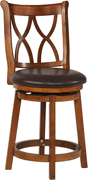 Powell S Furniture 15B8189CS Carmen Circular Bross Counter Stool Espresso Wood With Black Upholstered Seat