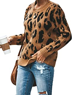 HZSONNE Women's Casual Leopard Crew Neck Loose Fit Sweater Long Sleeve Slouchy Pullover Knitted Jumper Tops