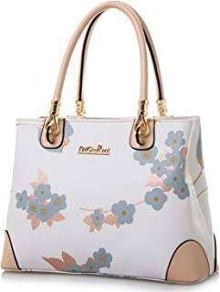 Womens Vintage Shoulder Bag All-over Flowers Pu Leather Tote Purse Cross Body Handbag