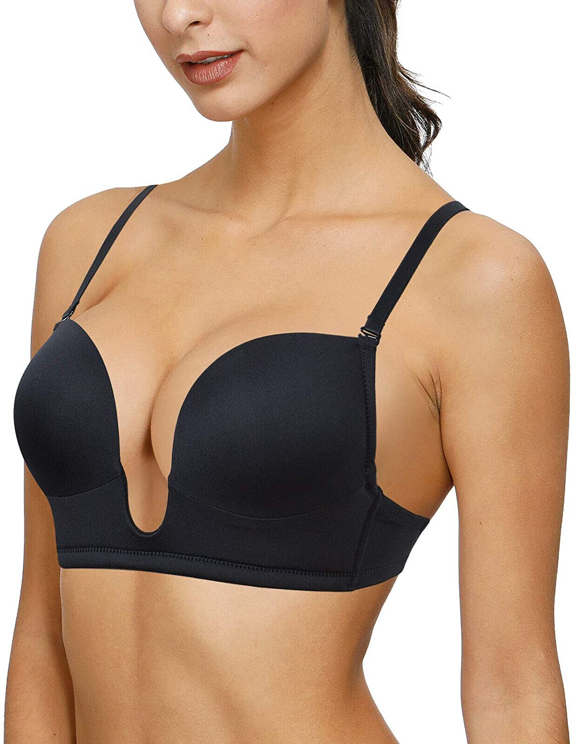 Womens Push Up Plunge U Shape Padded Low Back Clear Strap Multiway Convertible Bra