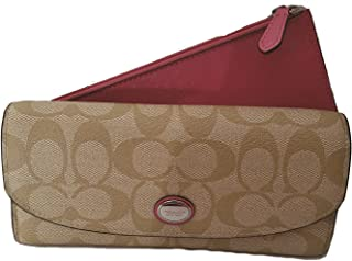 Coach Peyton Signature Envelope Wallet with Pouch Light Khaki & Strawberry - Style 49154