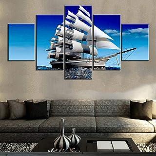 "TUMOVO 5 Piece Boat Pictures, Artwork-34, 60""X32"""