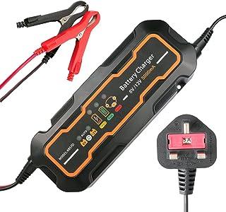 Smartes Autobatterie Ladegerät 6 V/12 V UK Stecker, GOGOLO 5 A Automatischer, tragbarer Akku in 3 Schritten Ladevorrichtungen für SLA Bleisäure für Auto, Motoren, LKW mit LED Ladestatus