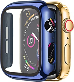 Cogift Hard Case Compatible with Apple Watch Series 6 SE Series 5 Series 4, Hard PC Case Slim Tempered Glass Screen Protec...