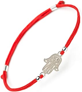 Hamsa Hand Fatima Silver Bracelet - Evil Eye Protection Sterling Silver Charm Jewelry Lucky Success Pendant Black Red String Rope Adjustable Friendship Handmade Bracelet Men Women