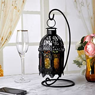 Finance Plan Vintage Iron Glass Hanging Light Candle Holder Home Lantern Candlestick Decor