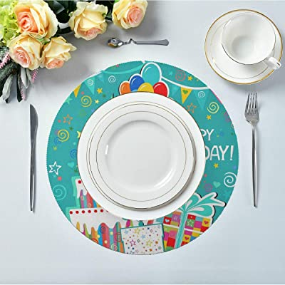 Amazon Com Thkdsc Set Of 4 Round Washable Placemats Happy Birthday Cute Funny Card Table Mat Kitchen Childrens Table Mat 15 4 Inch Easy To Clean For Kitchen Dining Table Holiday Party Home