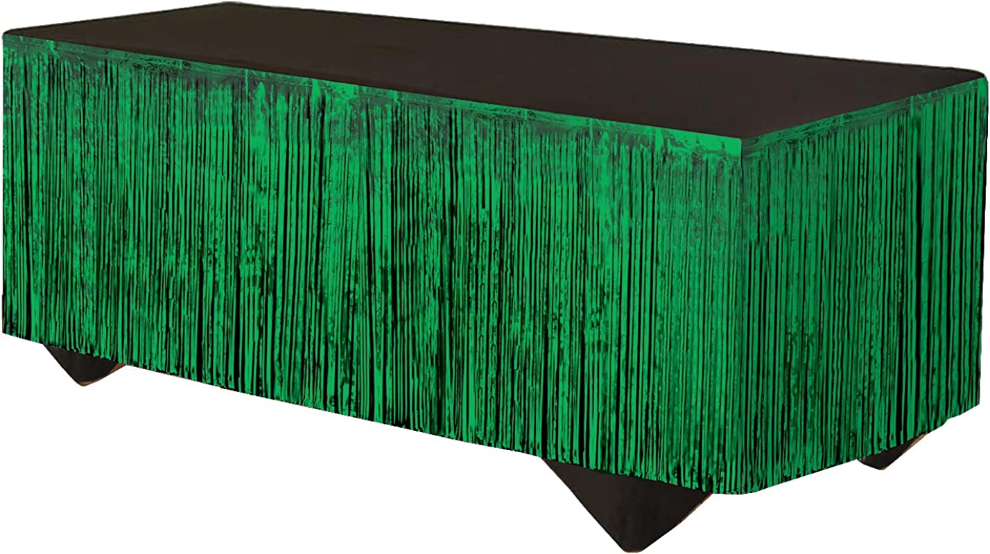 Forum Novelties 76186 Party Supplies Tinsel Fringe Table Skirt 144 X 29 Green