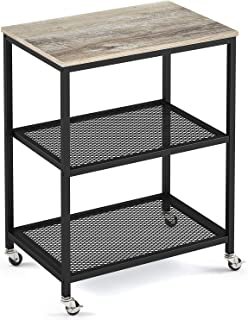 Ballucci Vintage Serving Cart, Kitchen Utility Rolling Cart on Wheels, 3-Tier Cart with Storage Metal Frame, for Kitchen Island, Living Room, Rustic Grey