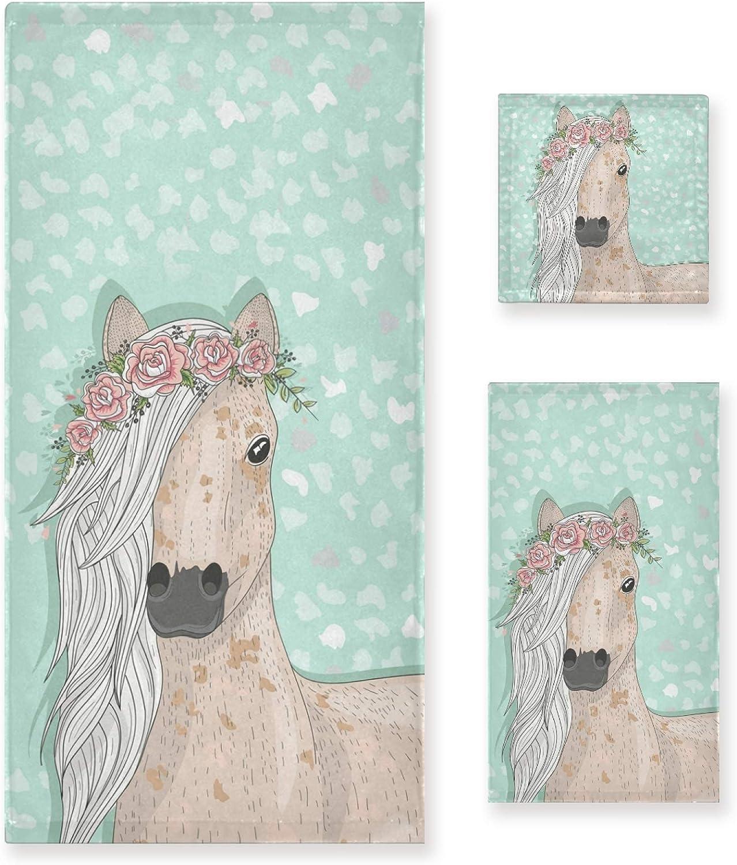 全店販売中 ALAZA Towel Bathroom Sets 至高 Chic Horse Set with Florals 3 of