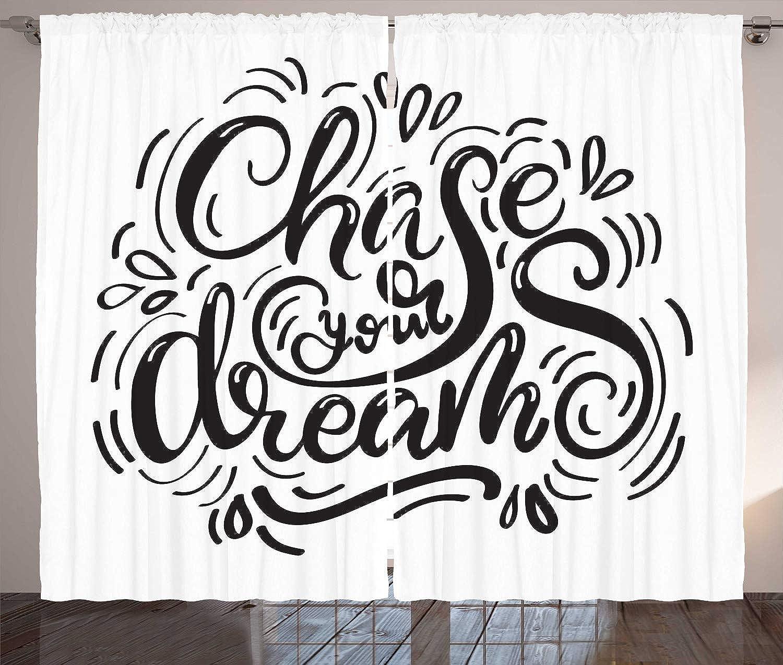 ABAKUHAUS Sueo Cortinas, Artísticas De Chase Sus Sueos, Estampa Ntida Digital Lavable Set de Dos Paos, 280 x 175 cm, En blancoo Y Negro