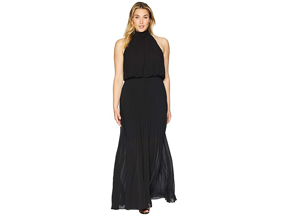 KARI LYN Plus Size Alexandra High-Neck Accordion Dress (Black) Women