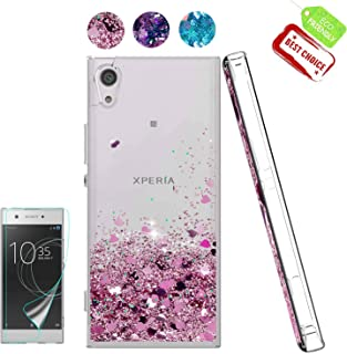 Sony Xperia XA1 Case, Sony Xperia XA1 Liquid Case with HD Screen Protector, Atump Luxury Girls Glitter Bling Soft TPU Cover with Sparkly Shiny Shockproof Protective Case for Sony Xperia XA1 Rose Gold