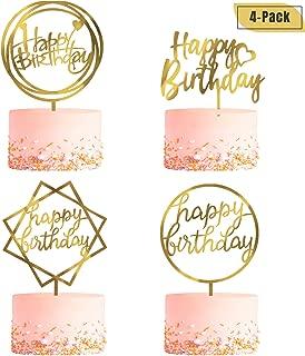 4 Pack Happy Birthday Cake Topper, Acrylic Cake Topper Birthday Cupcake Toppers, A Series of Gold Cake Topper Birthday Supplies for Various Birthday Cake Decorations