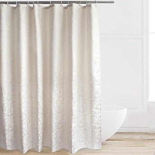 Eforcurtain Elegant Hotel Stylish Microfiber Shower Curtain Flowers Paisley On Cream Ivory Background Extra Long