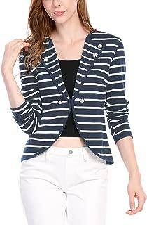 Women's Notched Lapel Button Decor Lightweight Striped Blazer Jacket