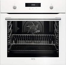 AEG BPK535120W Horno multifunción con limpieza pirolítico, 10 funciones, cocción uniforme, ventilador XXL, mandos escamoteables, pantalla LCD táctil, blanco, clase A+, 71 litros