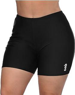 Vegatos Womens Plus Size Boyshorts Black Swim Bottoms High Waistd Long Board Shorts Swim Shorts