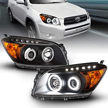 Sold in Pairs Anzo USA 111121 Toyota RAV4 Projector Chrome Clear Amber Headlight Assembly