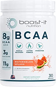 Boost-it Nutrition – 11g Sport BCAA   Muscle Recovery, Energy & Hydration Post Workout Formula   8 Grams 2:1:1 Branched Chain Amino Acids + 3g Amino & Hydration Blend   Watermelon, 30 Servings