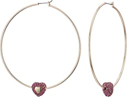 Rose Gold Hoop Earrings with Fuchsia Heart Detail