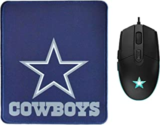 NFL Dallas Cowboys Gaming Mouse Wired + Mouse Pad, Ergonomic Game USB Computer Mice RGB Gamer Desktop Laptop PC Gaming Mouse Glowing Mouse for Dallas Cowboys Fans