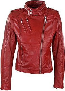 22e8c58a0e Veste femme cuir véritable rouge coupe cintrée originale doublure style  velours