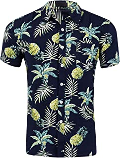 CATERTO Men's Short Sleeve Standard-Fit 100% Cotton Button Down Casual Pineapple Hawaiian Shirt
