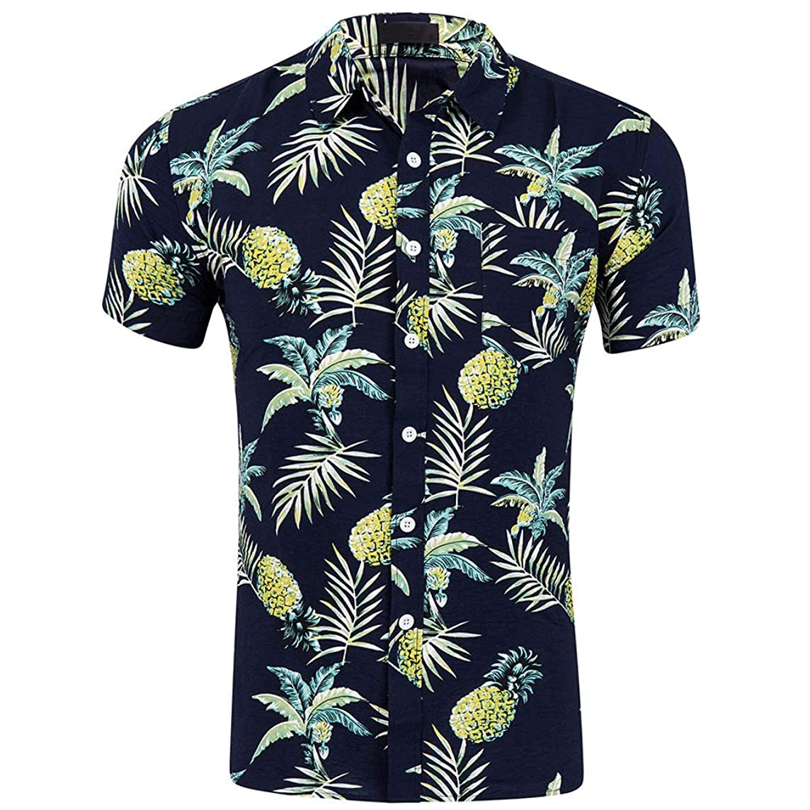 CATERTO Men's Short Sleeve Standard-Fit 100% Cotton Button Down Casual Pineapple Hawaiian Shirt