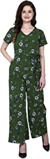 Serein Women's Crepe Jumpsuit (Blue Floral Printed Jumpsuit with Short Sleeves & Waist Tie-up Belt)