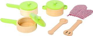 Small Foot- Juego Madera, Incluye, Dos sartenes, Utensilios Guante de Olla, complemento Ideal para la Cocina de los niños (10733)