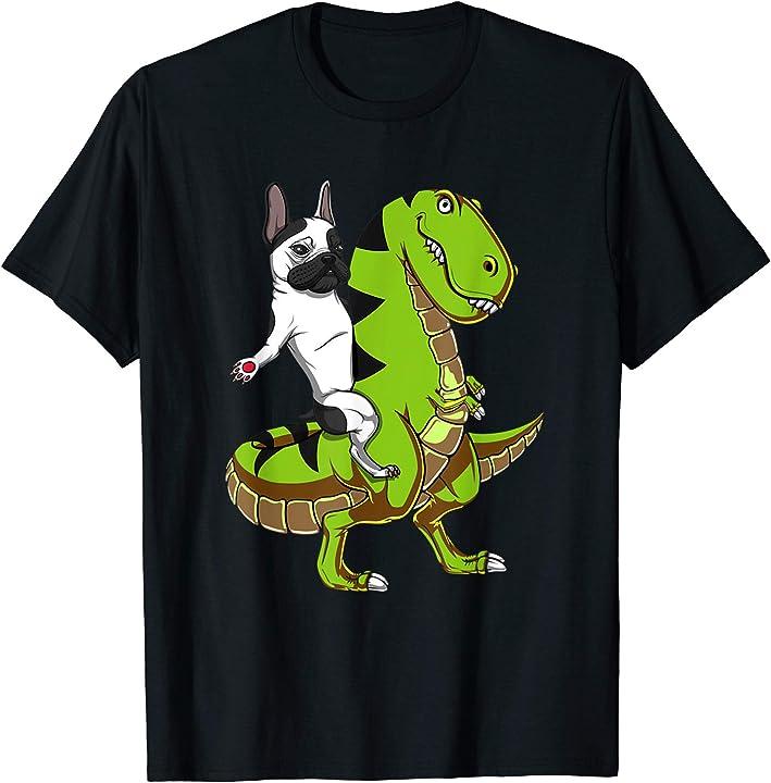 French Bulldog Riding T-Rex Dinosaur new funny shirt