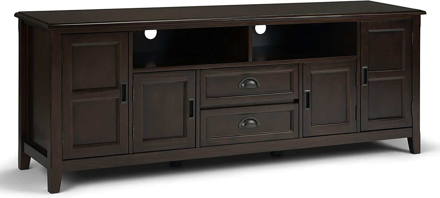 SIMPLIHOME Burlington SOLID WOOD Universal TV Media Stand, 72 inch Wide, Traditional, Living Room Entertainment Center, helves and Cabinets, for Flat Screen TVs up to 80