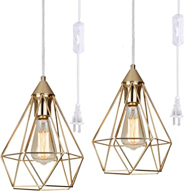 Plug-in Hanging lamp Set of 2 , YILYNN Pyramid Ceiling Pendant Light Kitchen Island Lamp with 14.7FT Switch Plug Clear Wire G