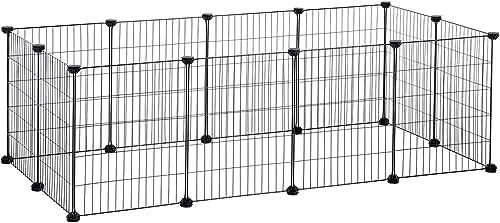 SONGMICS Enclos modulable, Clôture pour Petits Animaux, Cage pour Hamsters, Lapins, Cochon d'Inde, Maille métallique,...