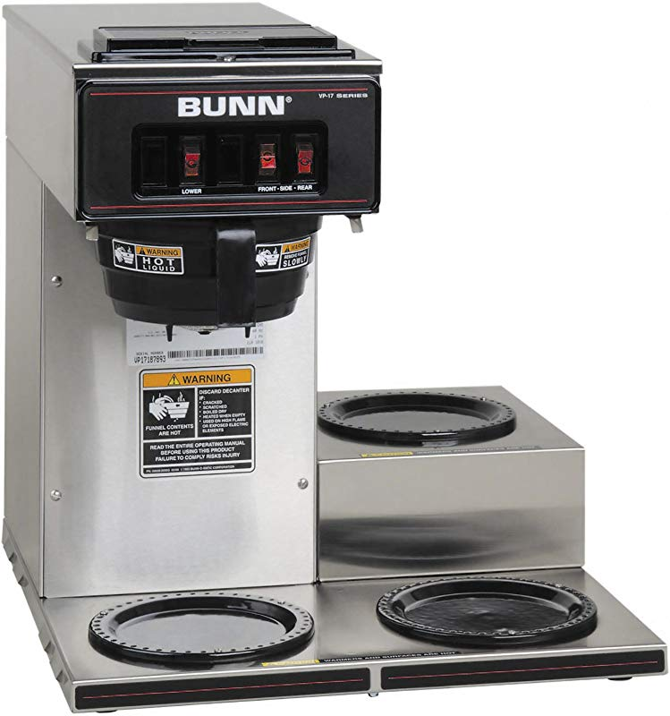 BUNN 13300 0003 VP17 3SS3L Pourover Commercial Coffee Brewer With 3 Lower Warmers Stainless Steel 120V 60 1PH