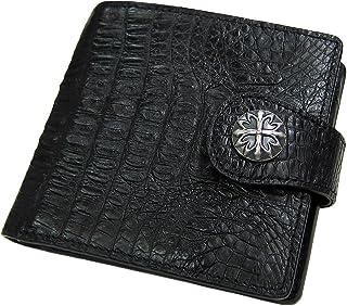 [マトゥーリ]Maturi クロコダイル 二つ折り財布 コンチョ付き MR-031 黒