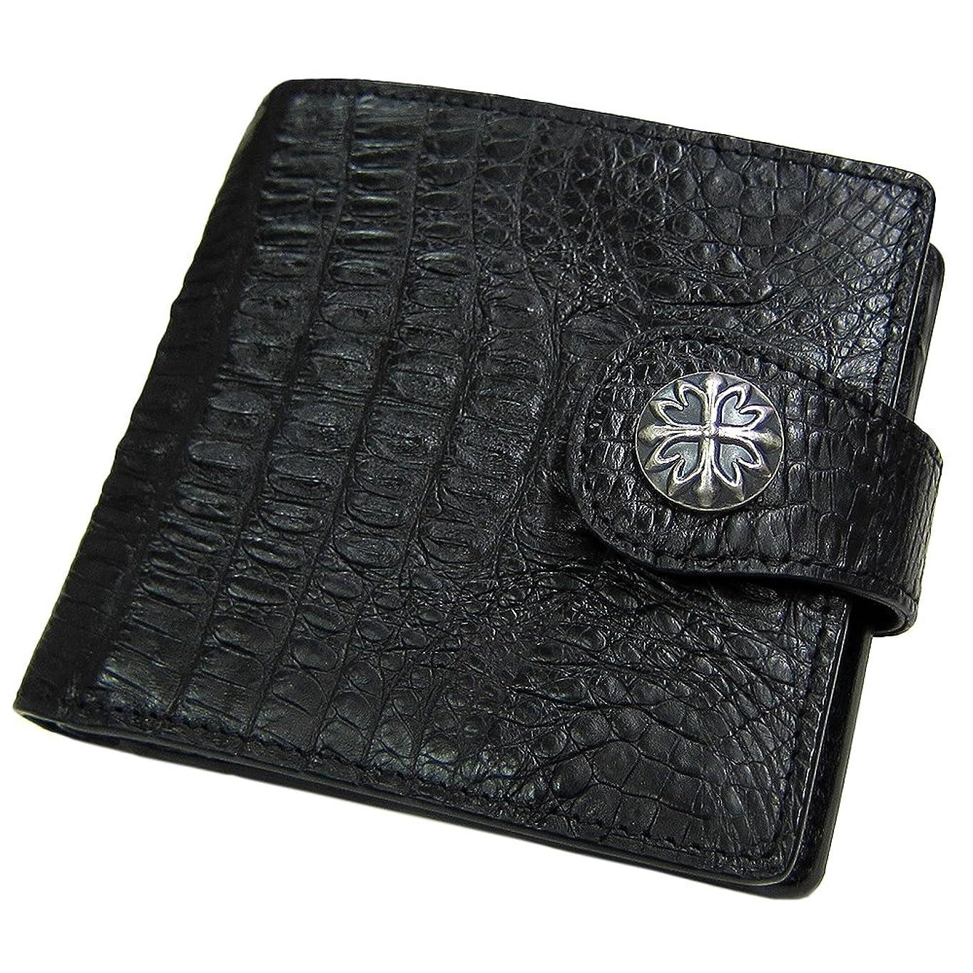ギャロップ速度一握り[マトゥーリ]Maturi クロコダイル 二つ折り財布 コンチョ付き MR-031 黒