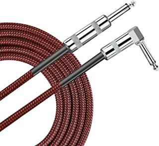 Pulais Guitar Instrument Cable 10 Foot Cord 1/4 inch Right Angle to Straight 10 ft Cable for Bass, Guitar, AMP