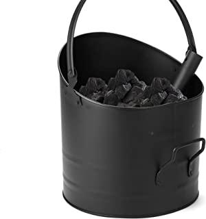 Mind Reader ASHBUCK-BLK Large Fire Place Ash Bucket, Pellet Bucket, Black