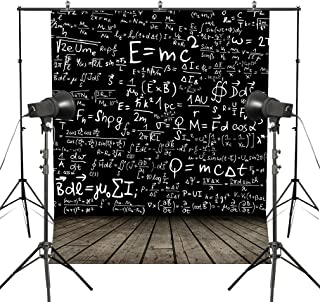 MUEEU 6x9ft E=MC2 Backdrop Physic Math Photography Backdrop Wooden Floor Custom Children Pictorial Cloth Printed Photo Backgrounds Studio Props