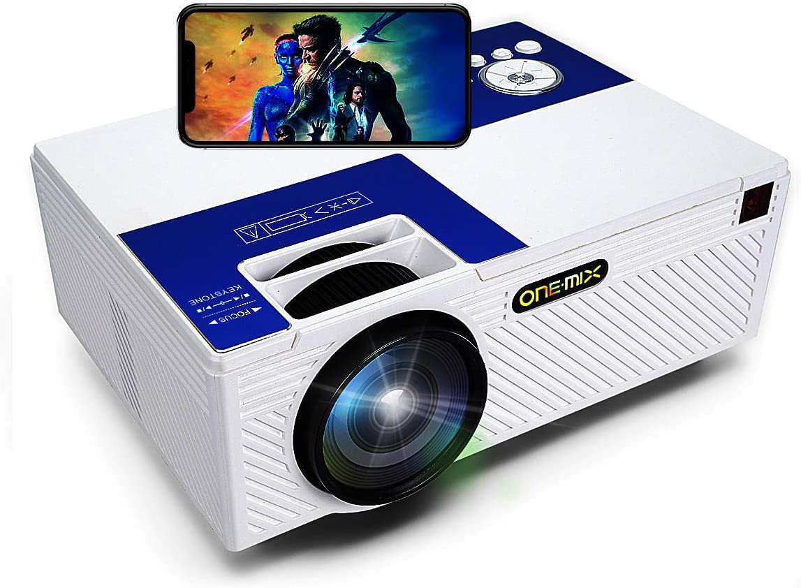 ONE·MIX Mini Proyector,Portable Video-Projector, Multimedia Home Theater Movie Projector,Compatible with Full HD 1080P HDMI,VGA,USB,AV,Laptop,Smartphone