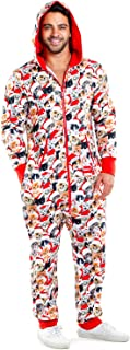 Tipsy Elves Ugly Christmas Jumpsuit for Men - Meowy Christmas Cozy Cat Print Holiday Onesie Size